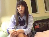 日本人形みたいに黒髪清楚な女子校生を背中から抱きしめるサラリーマン!美乳を揉みしだきながら制服を脱がして至福の援交セックス FC2 素人JK女子校生の無料アダルト動画