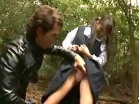 嫌がってたのに感じちゃう黒髪ツインテール女子校生と森の中で立ったまま青姦セックス ShareVideos 素人JK女子校生の無料アダルト動画