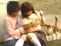 誰もいないけど猫だらけな早朝の公園で野外エッチするラブラブな女子校生カップルの微笑ましい青姦を遠くから盗撮しちゃいました erovideo 素人JK女子校生の無料アダルト動画