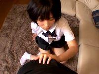 黒髪ショートの素朴なロリ女子校生が珍しそうにおチンチン触ったり弄ったり舐めたりしながら初めての援交セックス JavyNow 素人JK女子校生の無料エロ動画